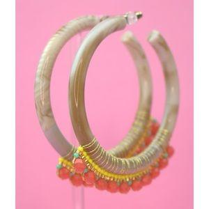 Beaded resin hoop earrings